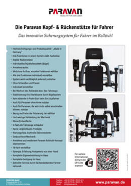 Product sheet Paravan KRS Head and backrest driver